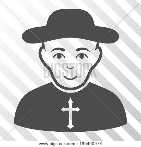 Gray Christian Priest interface pictogram. Vector pictograph style is a flat symbol on diagonal hatch transparent background.