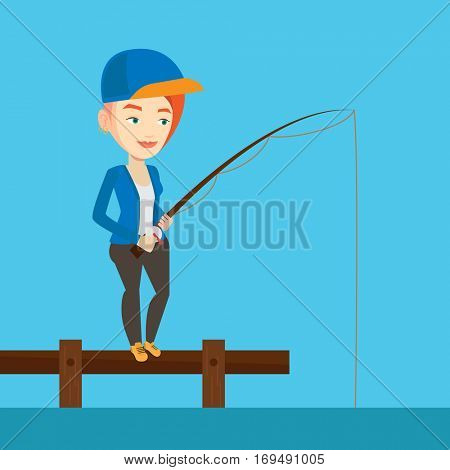 Young caucasian fisherwoman fishing on the lake. Woman relaxing during fishing on jetty. Smiling angler standing on jetty with fishing-rod in hands. Vector flat design illustration. Square layout.