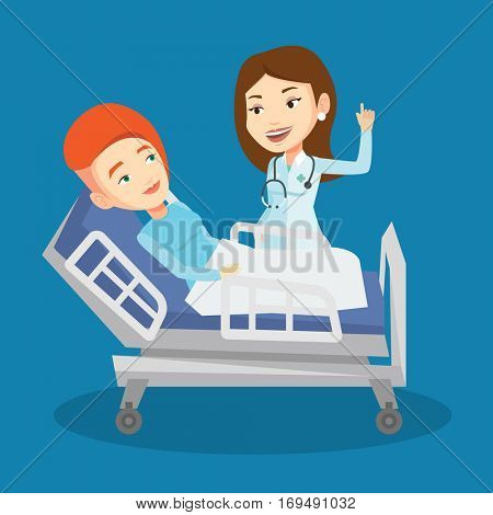 Caucasian female doctor visiting patient. Doctor pointing finger up during visiting of patient. Woman lying in hospital bed while doctor visits her. Vector flat design illustration. Square layout.