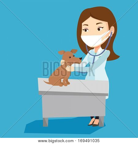 Young caucasian veterinarian examining dog in hospital. Female veterinarian checking heartbeat of a dog with stethoscope. Medicine and pet care concept. Vector flat design illustration. Square layout.