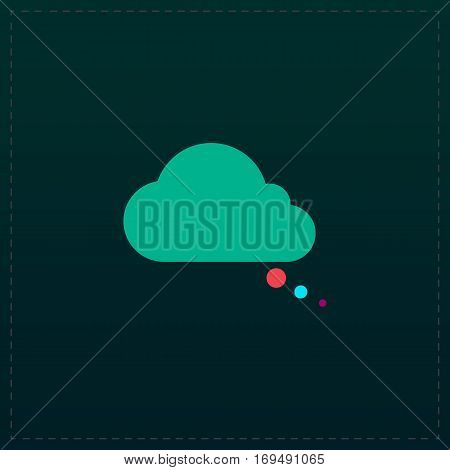 Cloud thought. Color symbol icon on black background. Vector illustration