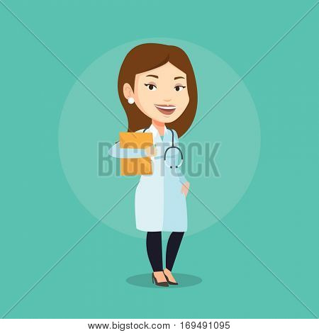 Caucasian doctor with stethoscope and folder. Young doctor in medical gown carrying folder of patient. Doctor holding folder with medical information. Vector flat design illustration. Square layout.
