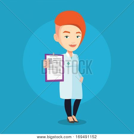 Young female doctor showing clipboard with prescription. Female doctor in medical gown holding clipboard. Caucasian doctor with patient records. Vector flat design illustration. Square layout.