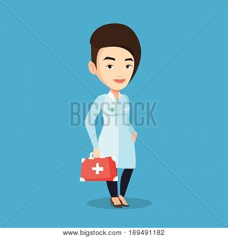 Caucasian female doctor in medical gown holding first aid box. Friendly doctor in uniform standing with first aid kit. Doctor carrying first aid box. Vector flat design illustration. Square layout.