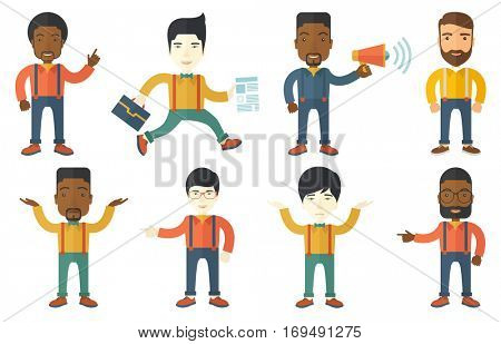 Businessman pointing finger up because he came up with business idea. Businessman having business idea. Business idea concept. Set of vector flat design illustrations isolated on white background.