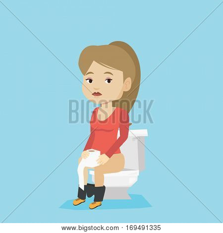 Caucasian woman sitting on toilet bowl and suffering from diarrhea. Woman holding toilet paper roll and suffering from diarrhea. Girl sick with diarrhea. Vector flat design illustration. Square layout