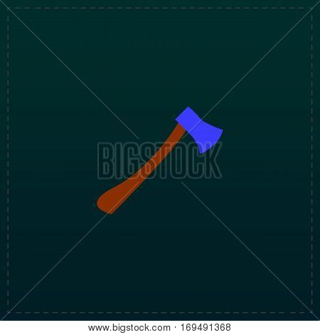 The ax. Color symbol icon on black background. Vector illustration