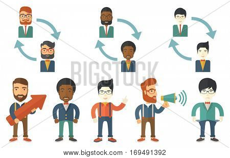 Two employee and rotating arrows between them. Concept of employee rotation and job rotation. Businessman making announcement. Set of vector flat design illustrations isolated on white background.