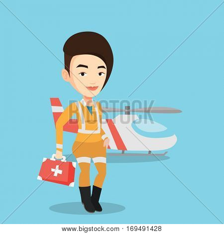 Caucasian female doctor of air ambulance. Doctor of air ambulance standing in front of rescue helicopter. Doctor of air ambulance with first aid box. Vector flat design illustration. Square layout.
