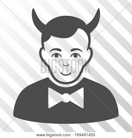 Gray Devil interface pictogram. Vector pictograph style is a flat symbol on diagonally hatched transparent background.