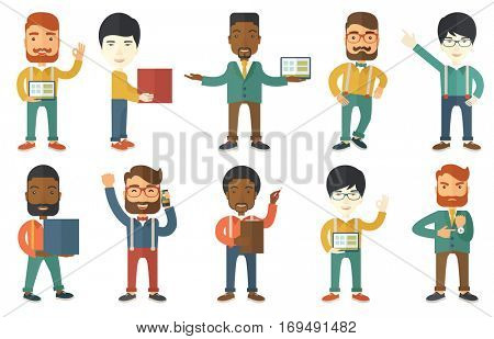 Businessman pointing at charts on tablet computer during business presentation. Businessman using tablet computer on business presentation. Set of vector illustrations isolated on white background.
