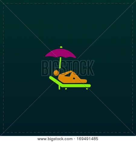 Simple Relax under an umbrella on a lounger. Color symbol icon on black background. Vector illustration
