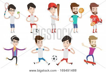Football players in action during a match. Football players fighting over control of ball. Sportsman standing with football ball. Set of vector flat design illustrations isolated on white background.