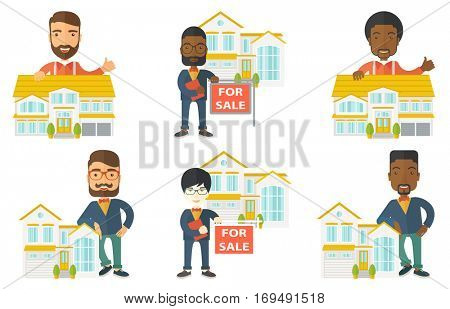 Young happy real estate agent offering the house for sale. Real estate agent with placard for sale standing in front of the house. Set of vector flat design illustrations isolated on white background.