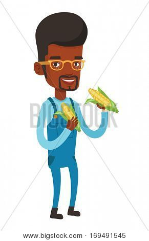 Smiling african-american farmer collecting corn. Happy farmer holding a corn cob. Cheerful farmer standing a corn cob in hands. Vector flat design illustration isolated on white background.