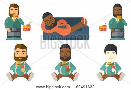 Plump businessman working on laptop and eating hamburger. Fat businessman eating hamburger at work. Businessman biting hamburger. Set of vector flat design illustrations isolated on white background.