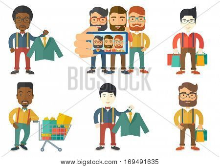 Caucasian hipster shopper holding hanger with suit jacket and shirt. Shopper choosing suit jacket. Shop assistant offering suit. Set of vector flat design illustrations isolated on white background.