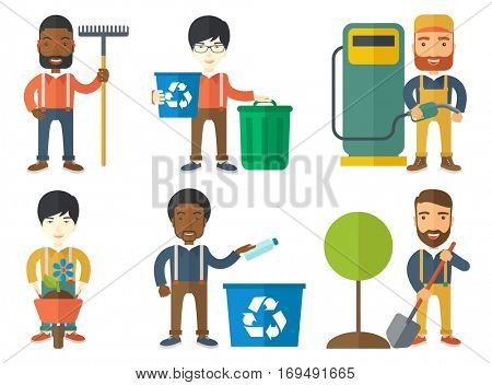 Young man carrying recycling bin. Eco-friendly man throwing away plastic bottle in a recycling bin. Plastic recycling concept. Set of vector flat design illustrations isolated on white background.
