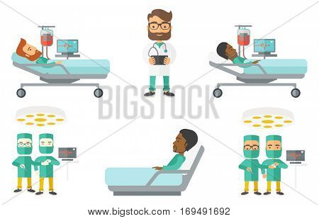 Surgeon in medical uniform working in operation theater. Surgeon performing operation in operating room. Surgeon doing operation. Set of vector flat design illustrations isolated on white background.