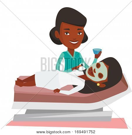 Cosmetologist applying cosmetic mask on face of client in beauty salon. Young woman lying on table in salon during beauty treatment. Vector flat design illustration isolated on white background.