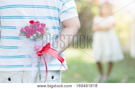Bouquet Roses In Hand Man For Little Bride