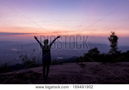 Freedom And Happiness Woman At Pha Nok Aen Cliff