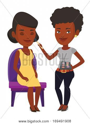 An african visagiste applying makeup on woman face. Visagiste doing makeup to young girl. Visagiste doing makeup to a model using a brush. Vector flat design illustration isolated on white background.