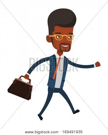 African-american businessman with briefcase in hand running. Smiling businessman running in a hurry. Cheerful businessman running forward. Vector flat design illustration isolated on white background.