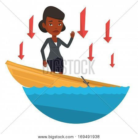 Business woman standing in sinking boat and asking for help. Business woman sinking and arrows behind her symbolizing business bankruptcy. Vector flat design illustration isolated on white background.