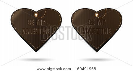 Set vintage leather hearts with congratulatory inscription - Be my Valentine. Vector illustration isolated on white background