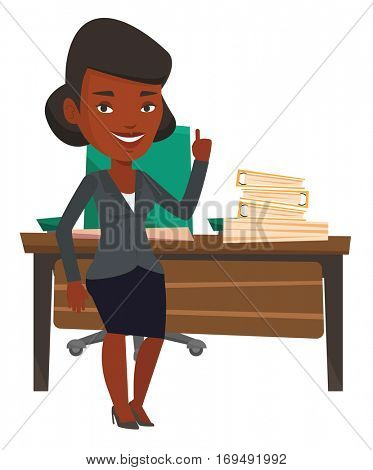 African-american businesswoman pointing finger up because he came up with business idea. Woman having business idea. Business idea concept. Vector flat design illustration isolated on white background