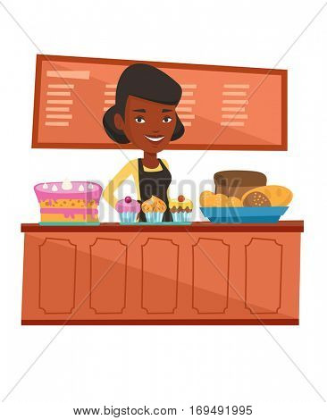 African-american bakery worker offering pastry. Worker standing behind the counter with cakes at the bakery. Woman working at the bakery. Vector flat design illustration isolated on white background.