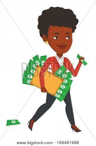 An african business woman with briefcase full of money committing economic crime. Business woman stealing money. Economic crime concept. Vector flat design illustration isolated on white background.