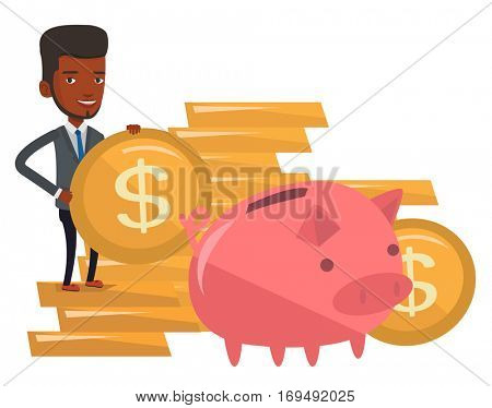 African-american businessman saving his money in piggy bank. Businessman putting money in a big pink piggy bank. Concept of saving money. Vector flat design illustration isolated on white background.
