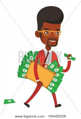 African-american businessman with briefcase full of money committing economic crime. Businessman stealing money. Economic crime concept. Vector flat design illustration isolated on white background.