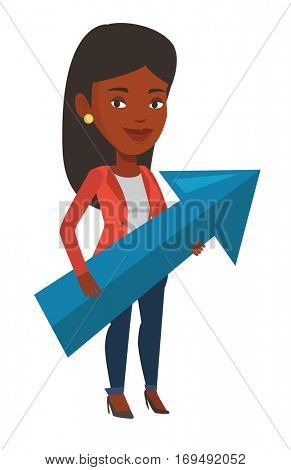 Young businesswoman thinking about strategy of business growth. Woman holding arrow representing business growth. Business growth concept. Vector flat design illustration isolated on white background.