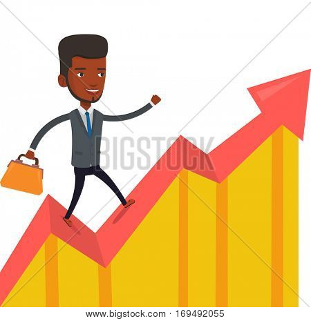 An african successful businessman running on profit chart. Cheerful businessman walking along the profit chart. Business profit concept. Vector flat design illustration isolated on white background.