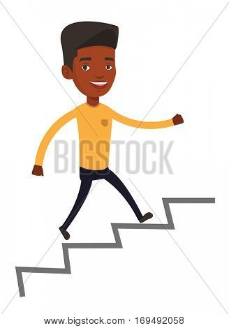 An african-american business man running up the career ladder. Happy business man climbing the career ladder. Concept of business career. Vector flat design illustration isolated on white background.