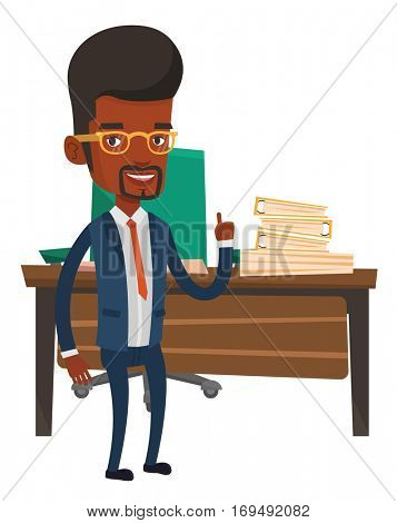An african-american businessman pointing finger up because he came up with business idea. Man having business idea. Business idea concept. Vector flat design illustration isolated on white background.