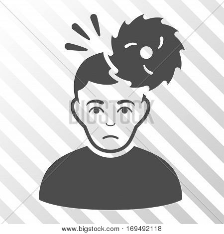Gray Headache interface icon. Vector pictograph style is a flat symbol on diagonally hatched transparent background.