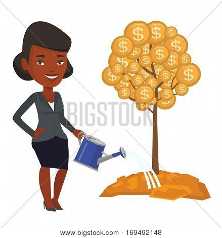 Woman watering money tree. Woman investing money in business project. Illustration of investment money in business. Investment concept. Vector flat design illustration isolated on white background