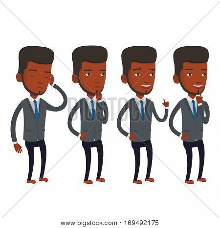 An african-american businessman working on a new business plan. Young businessman during business planning. Business planning concept. Vector flat design illustration isolated on white background.