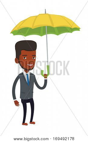 An african cheerful insurance agent. Insurance agent standing safely under umbrella. Business insurance and business protection concept. Vector flat design illustration isolated on white background.