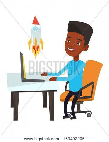 African-american businessman looking at business start up rocket. Businessman working on business start up. Business start up concept. Vector flat design illustration isolated on white background.