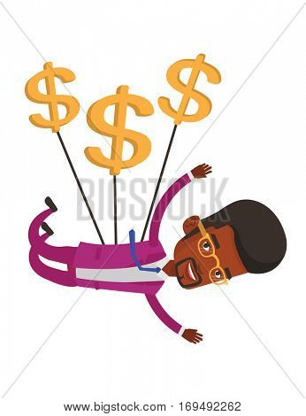 African businessman gliding in the sky with dollars. Businessman flying with dollar signs. Businessman using dollar signs as parachute. Vector flat design illustration isolated on white background.
