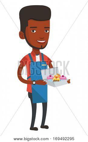 An african-american delivery man holding a box of cakes. Baker delivering cakes. Young delivery man with cupcakes. Food delivery service. Vector flat design illustration isolated on white background.