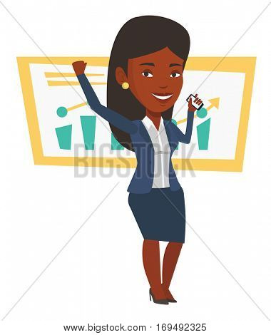 Successful business woman getting good news on mobile phone. Successful business woman talking on mobile phone. Business success concept. Vector flat design illustration isolated on white background.