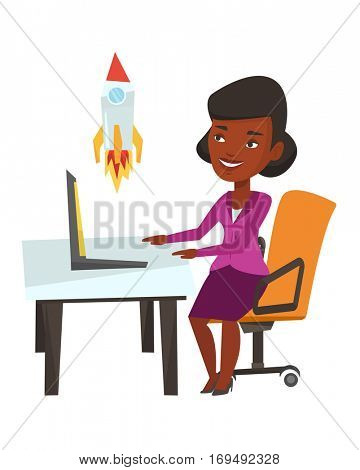 African-american businesswoman looking at business start up rocket. Businesswoman working on business start up. Business start up concept. Vector flat design illustration isolated on white background.