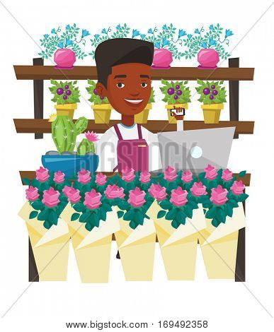 An african florist standing behind the counter at flower shop. Florist using phone and laptop to take order. Man working in flower shop. Vector flat design illustration isolated on white background.