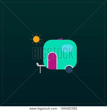Travel trailer. Color symbol icon on black background. Vector illustration